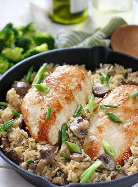 Creamy One Pot Chicken Rice and Mushrooms | Best Cast Iron Casserole Recipes