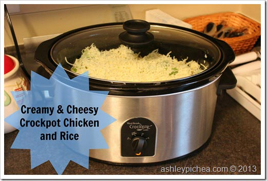 Creamy & Cheesy Crockpot Chicken and Rice