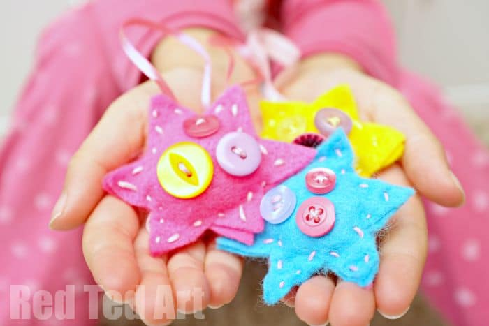 Child Made Button Star Ornaments