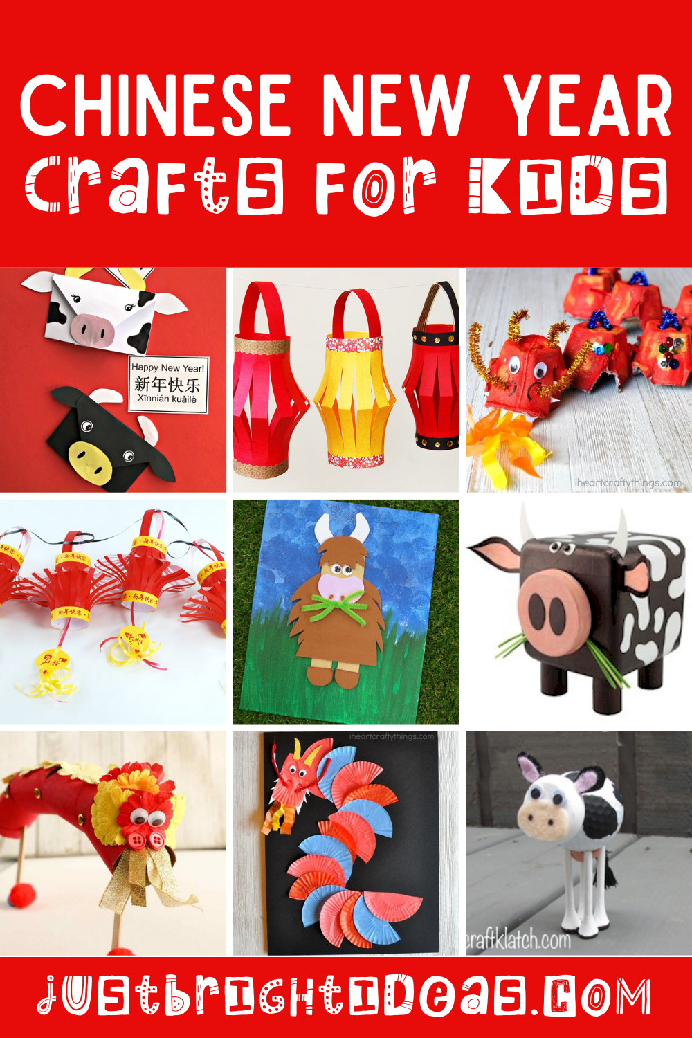 Did you know that 2021 is the Year of the Ox?  Check out these fun Chinese New Year craft ideas for kids of all ages. includes ox, dragon and paper lantern crafts! #chinesenewyear #craftsforkids