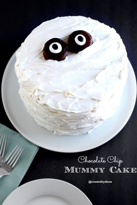 Chocolate Chip Cake-Halloween Mummy Cake Recipe