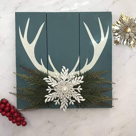 Christmas Antler Sign