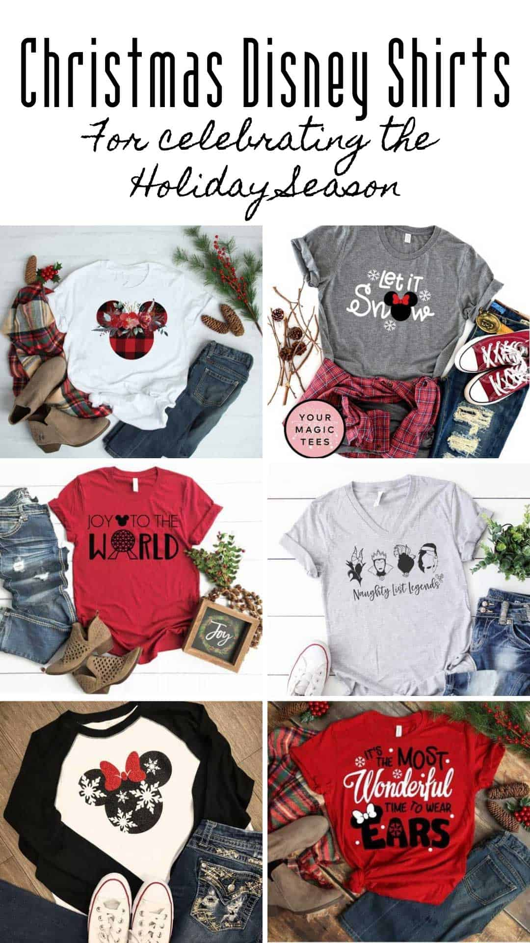 'Tis the season to be merry with these fabulous Christmas Disney shirt ideas for your Holiday season vacation! Or just while you're out doing the Christmas shopping!