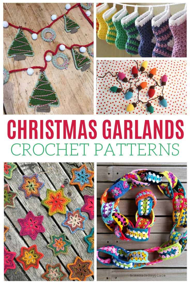 These Christmas garlands are BEAUTIFUL and all of the crochet patterns are FREE!
