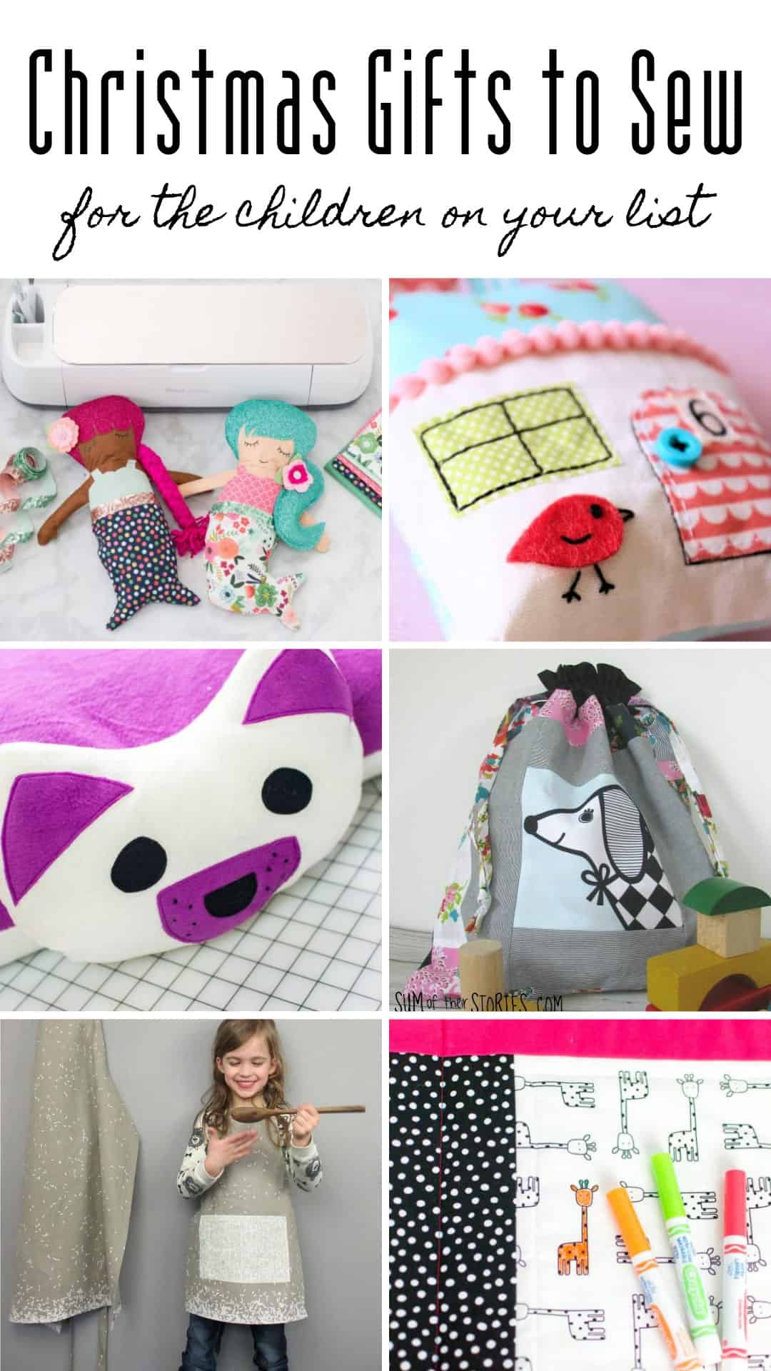 So many cute Christmas gifts to sew for kids! Love the puppy pillow!