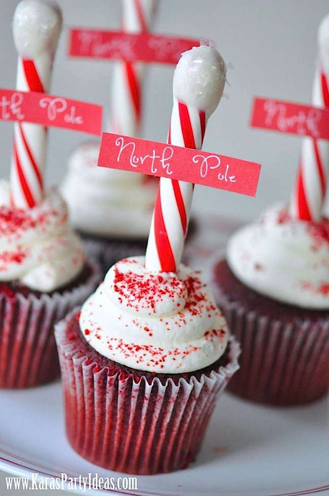 Oh how ADORABLE are these cupcake signs! LOVE the idea of a candy cane stick instead of a toothpick!