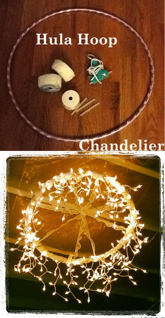 Make a Christmas Chandelier from a Hula Hoop