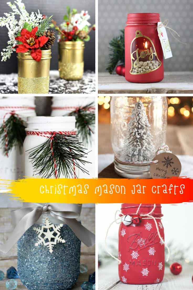 These Christmas mason jar craft ideas are so pretty and make great Holiday decor or even gifts for friends #christmas #masonjar