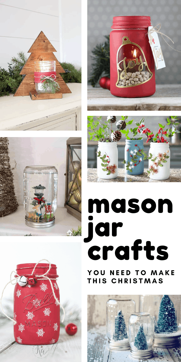 Loving these simple DIY Christmas mason jar crafts ideas for home decor and unique handmade gift ideas! #christmas #diy #masonjar #crafts #holidaycrafts