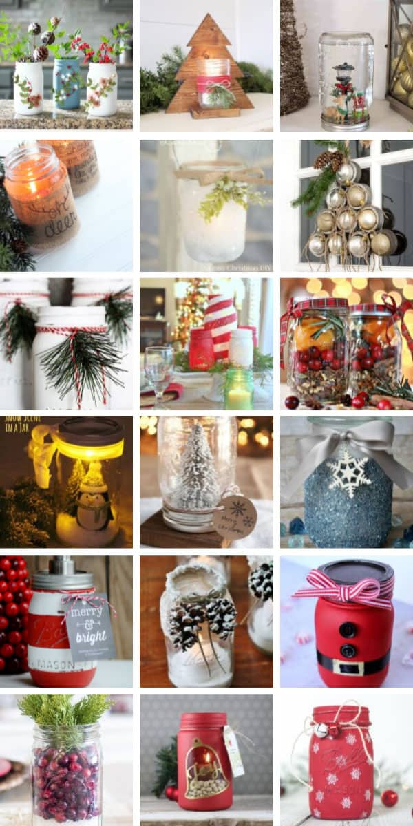 Wow so many beautiful yet simple Christmas mason jar projects to make this year! #masonjar #christmas #diy