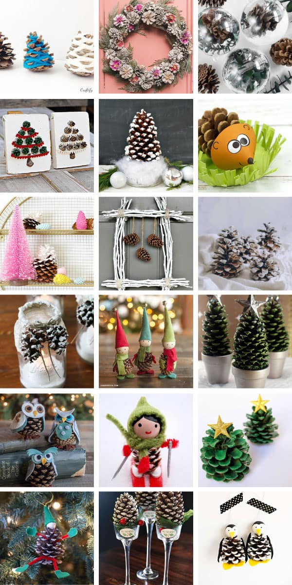 So many fabulous Christmas pinecone crafts and ideas for kids and grownups #christmascrafts #christmas