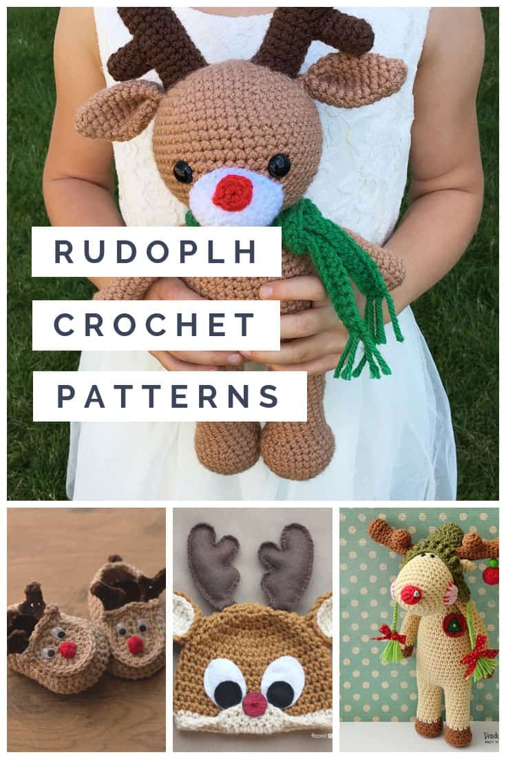 Super cute Rudolph crochet patterns for you to make this Holiday season!