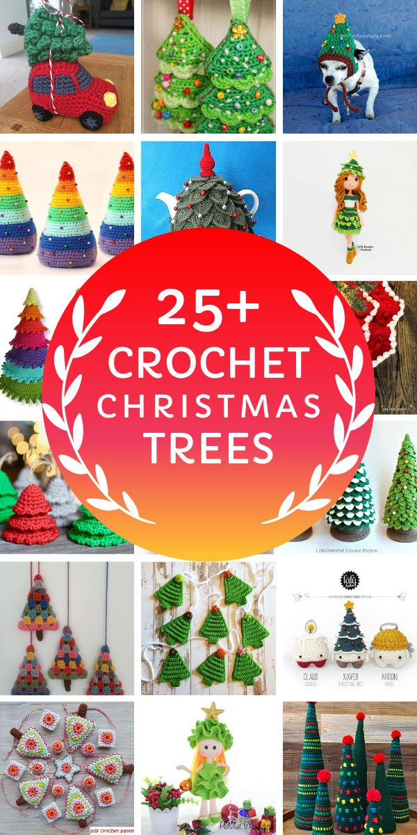 Loving these Christmas Tree crochet projects! So many ideas from garlands and ornaments to gift tags and even dolls - oh and dog hats! #christmas #crochet #crochetpatterns