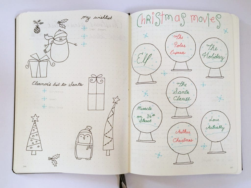 Christmas Wish List and Santa List in Bullet Journal