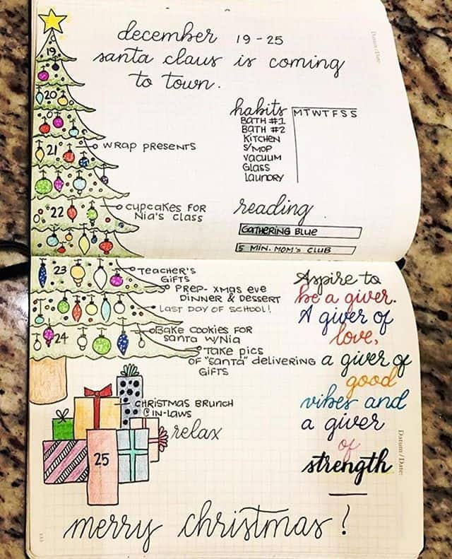 Christmas themed weekly spread for your Bullet Journal