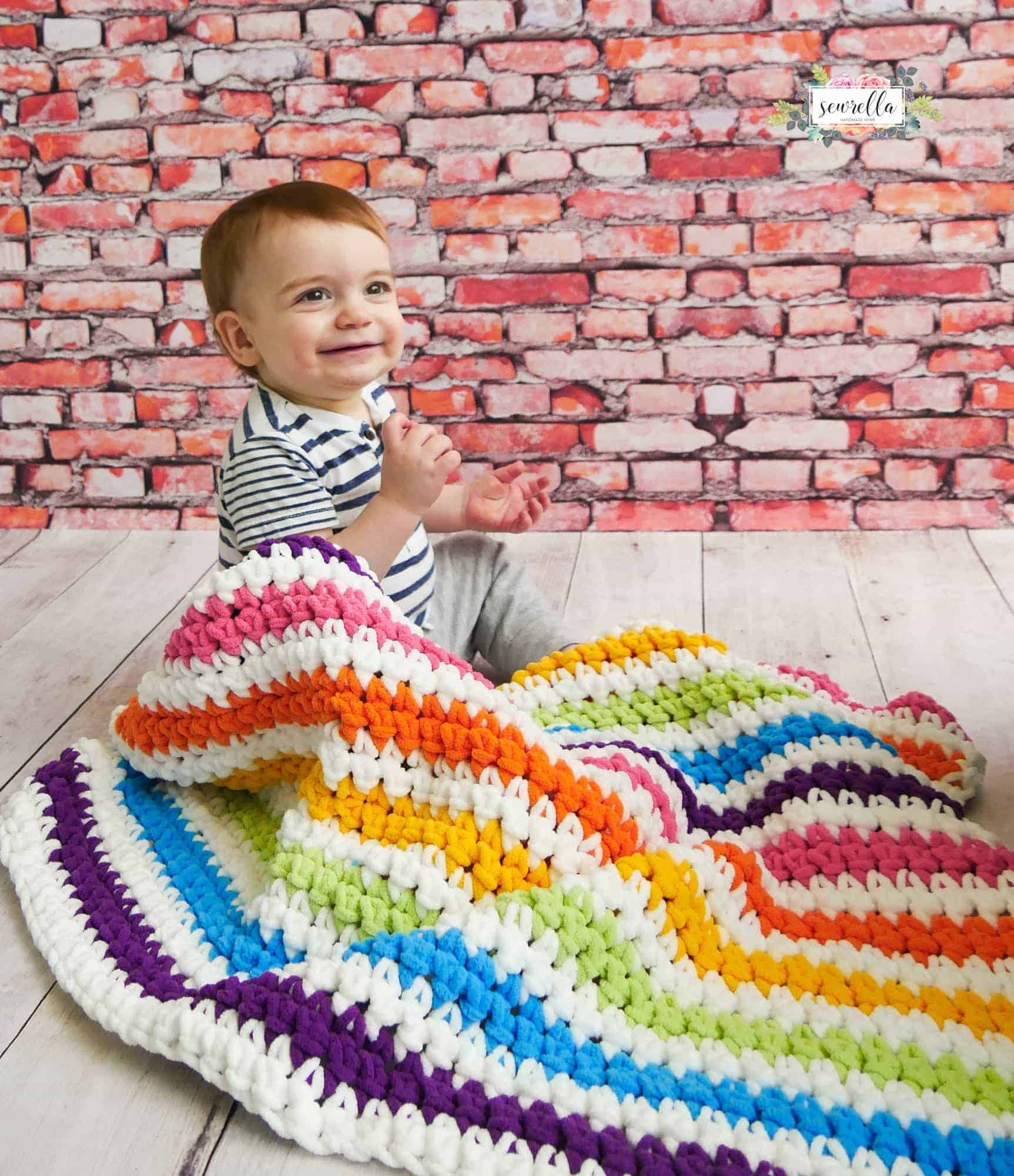 Beginner Friendly Rainbow Stripes Baby Blanket