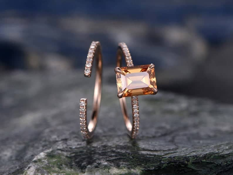 Handcrafted Citrine Engagement Ring Set