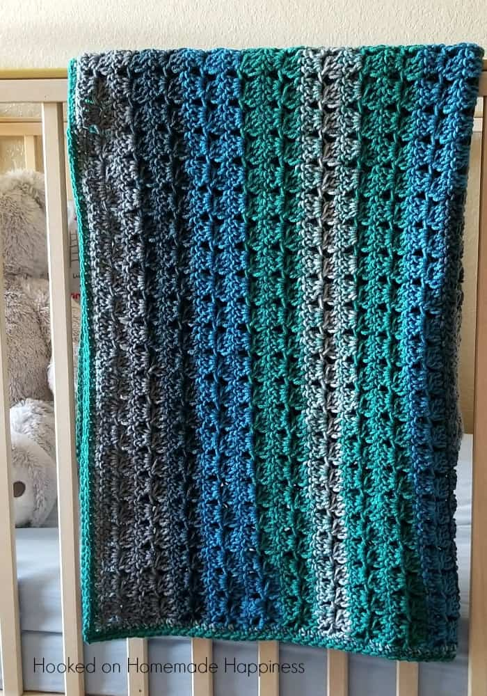 Cluster Stripes Crochet Baby Blanket Pattern