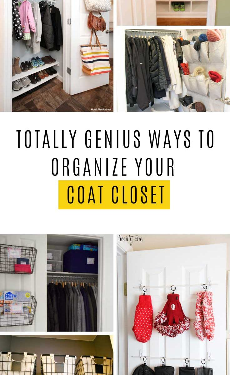 If your front closet is cluttered and disorganized it's time to give it some TLC and turn it into a coat closet your guests will be jealous of! These hacks are easy to do on a weekend. #organization