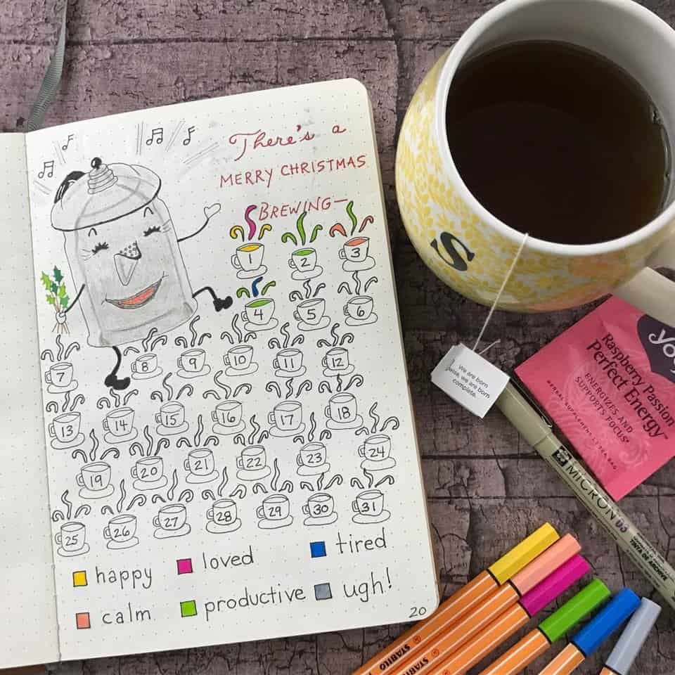 Coffee Cup Christmas Mood Tracker