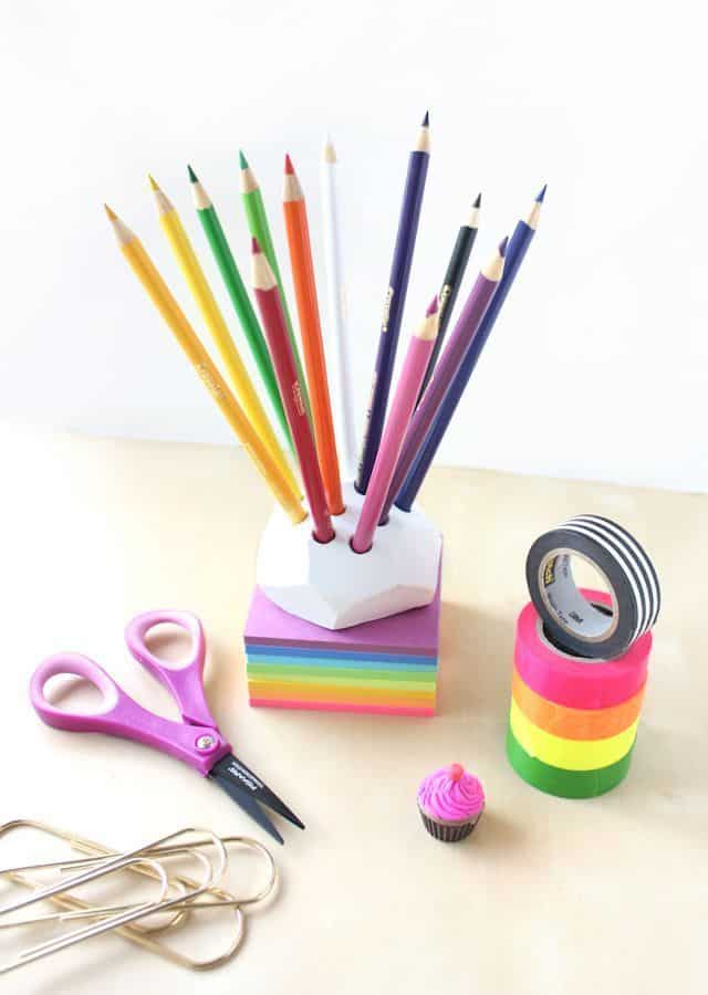 Geometric Clay Pencil Holder
