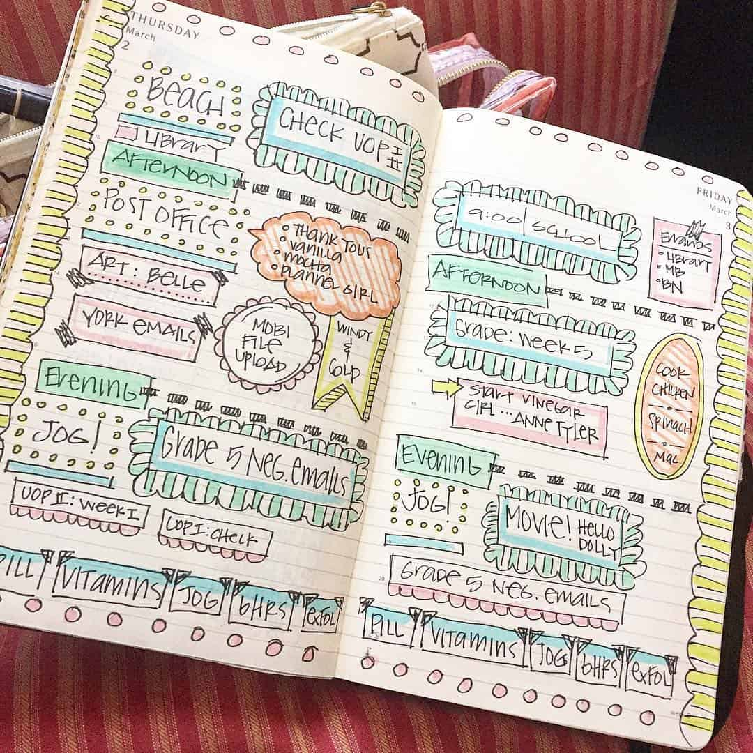 Colorful bullet journal header doodles