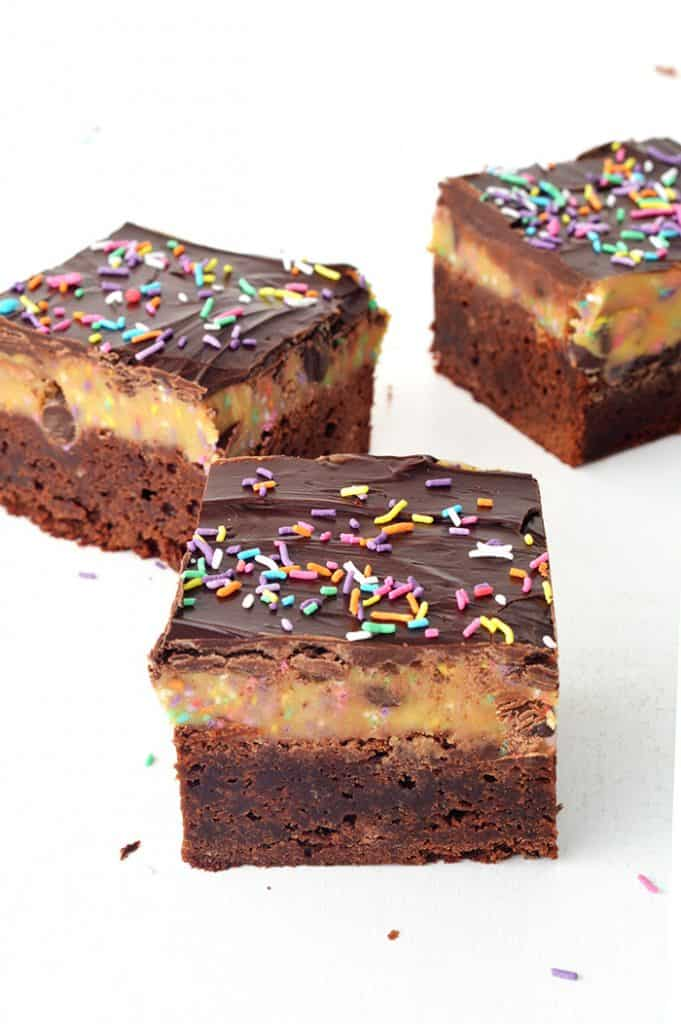 Funfetti Cookie Dough Chocolate Brownies