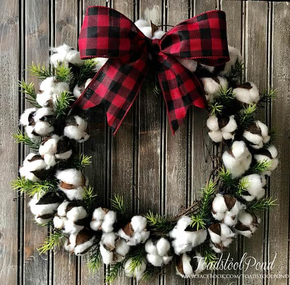 Cotton Fixer Upper Wreath plaid Bow