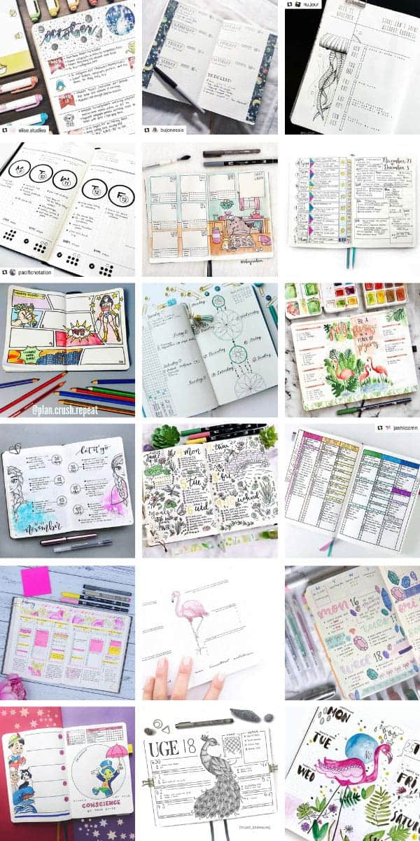 So many creative bullet journal weekly spread ideas here - there's enough ideas for almost two years! #bulletjournal #weeklyspread