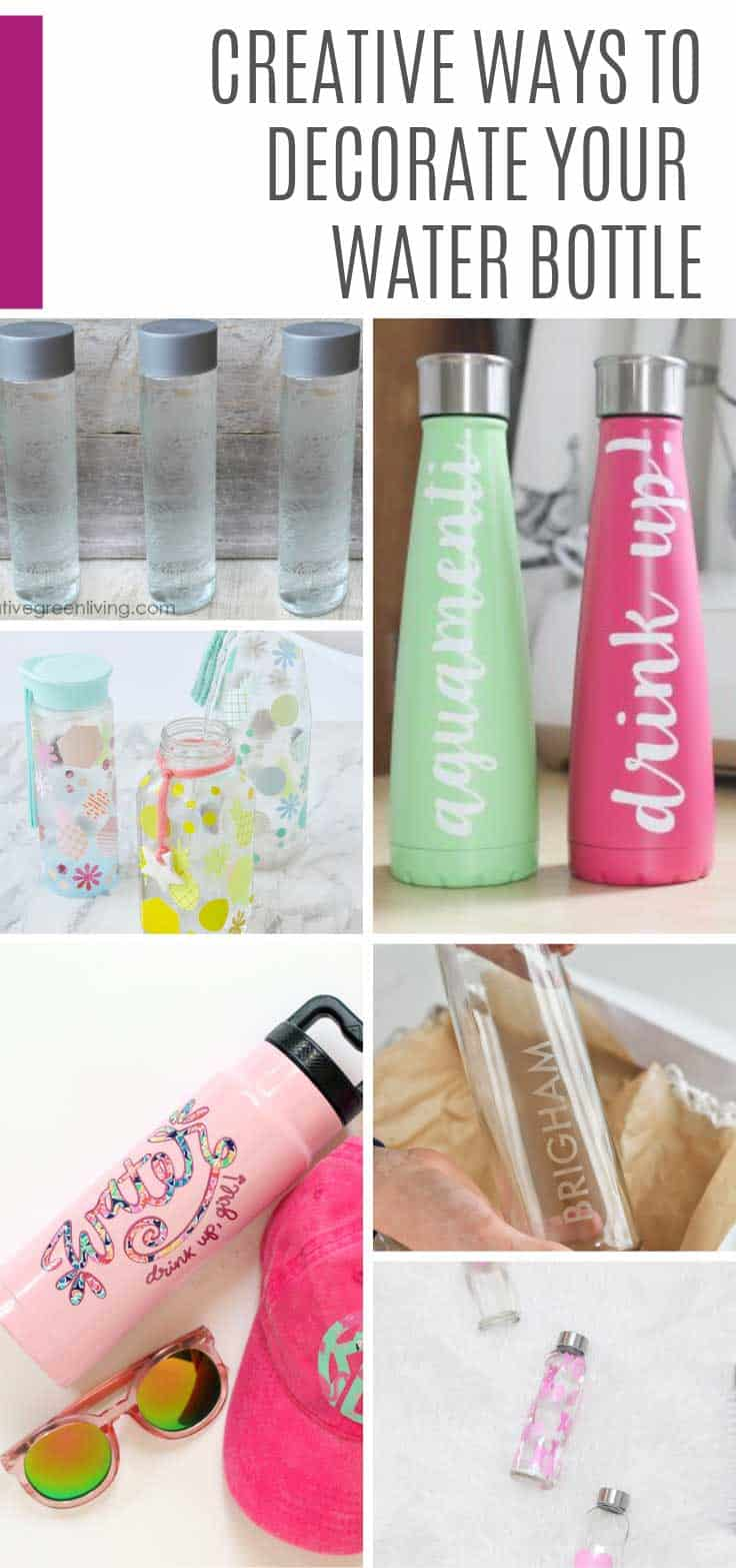 Check out these cute ways to decorate your water bottle! From paint and glass etching to marbling with nail polish and of course Cricut SVG projects!