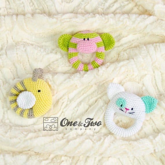 Oh my these crochet animal baby rattles are so cute!