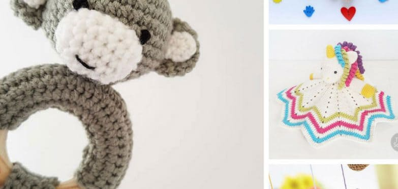 These crochet baby toy patterns are adorable! Especially that monkey rattle! Thanks for sharing!
