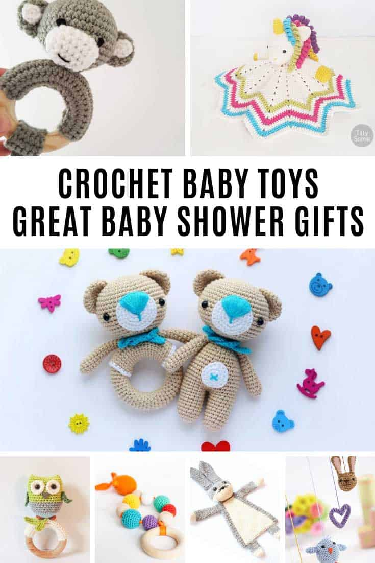 These crochet baby toys are ADORABLE and perfect for baby shower gifts!