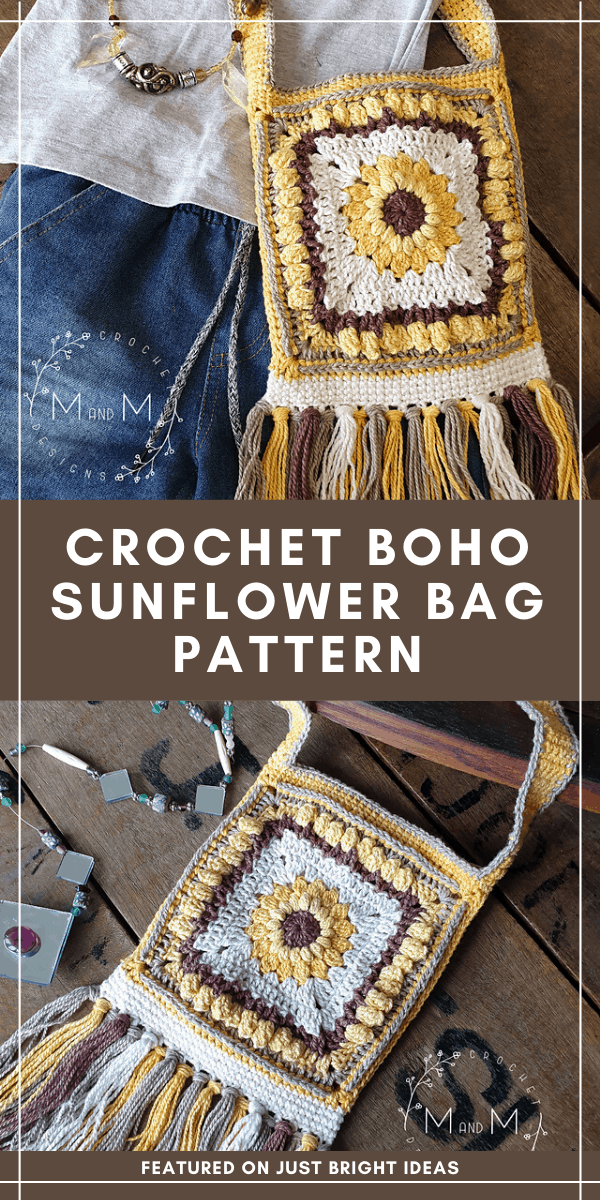 This fabulous sunflower bag with its boho style is a free crochet pattern - click through to grab the download