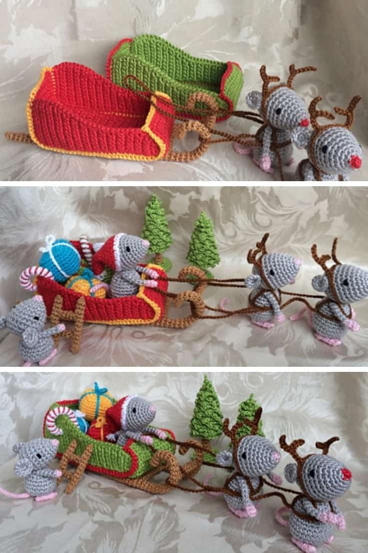 Crochet Christmas Mice Decorations
