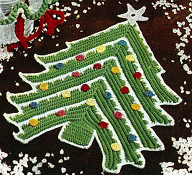 Crochet Christmas Tree Potholder Pattern