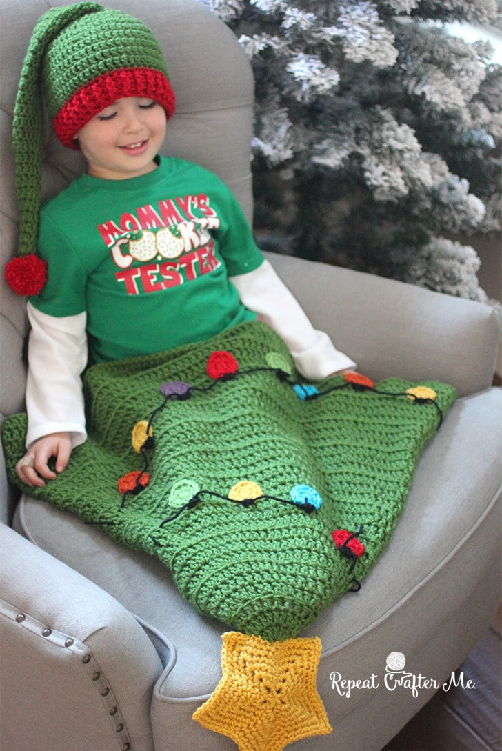 Crochet Christmas Tree Tail Blanket Pattern