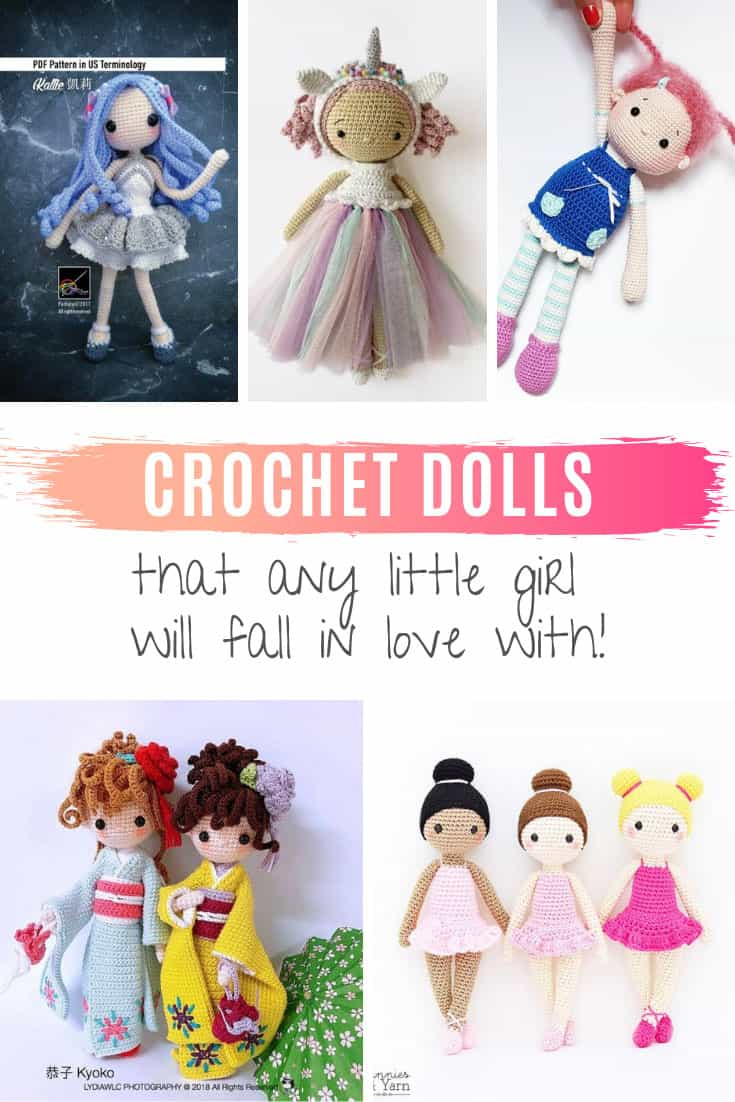 How cute are these crochet doll patterns! Any little girl will have a blast playing with these amigurumi dolls!