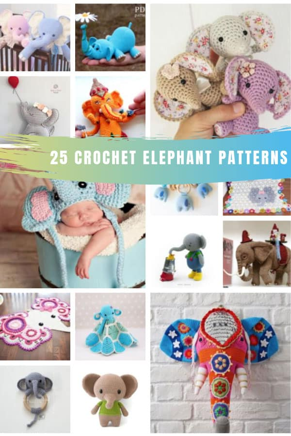 Loving these crochet elephant patterns! So many projects and ideas here for baby shower gifts and Christmas! #crochet #elephant #amigurumi