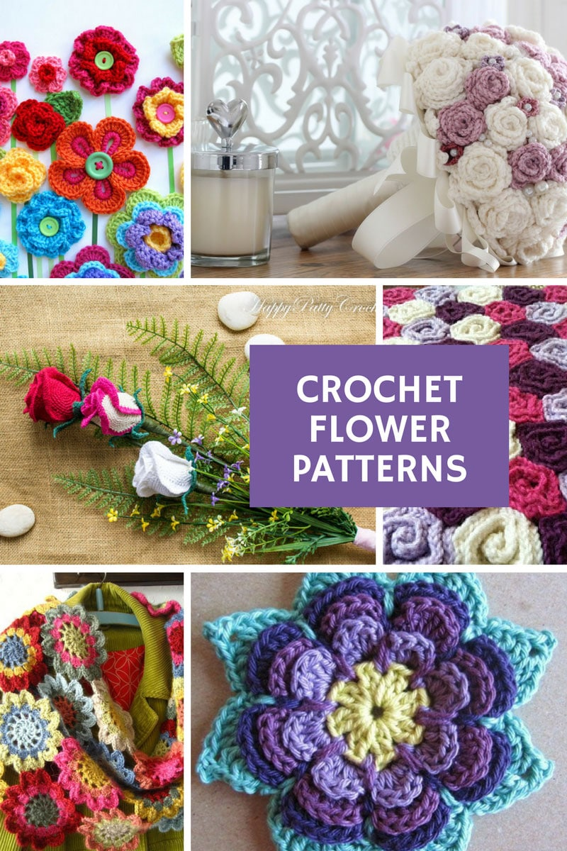 Crochet Flower Patterns - If you're wondering how to crochet flowers this is the collection for you - everything from flower scarves and blankets to applique and even a wedding bouquet! #crochet
