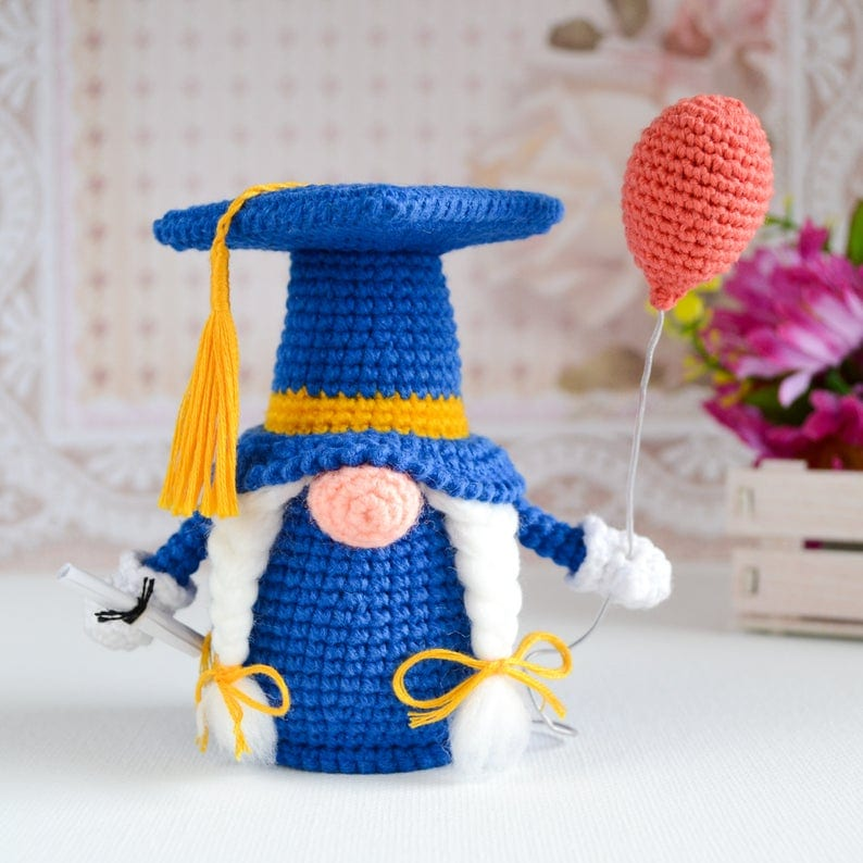 Girl Crochet Graduation Gnome
