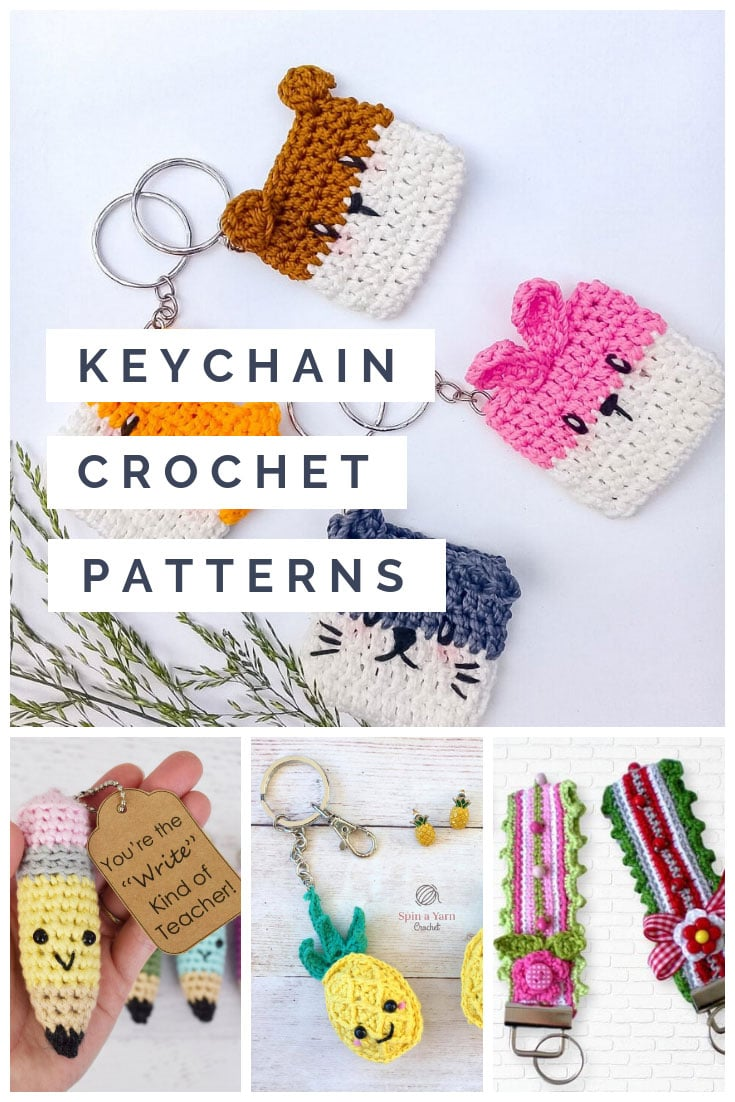 These crochet keychain patterns are great scrap busters and make perfect stocking stuffers too!