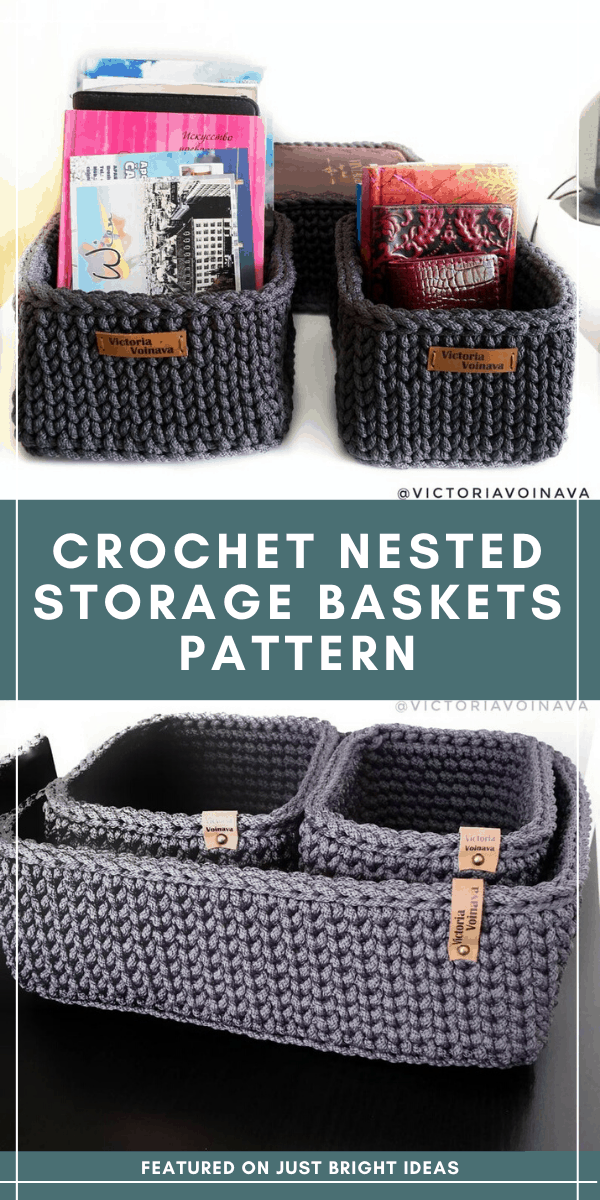 If you really want to get organized but can't get to the store just grab your hooks and yarn and use this easy to follow crochet pattern to make some stylish nested storage baskets just like these
