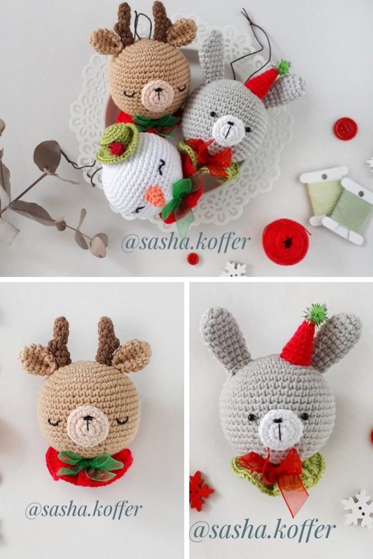 Crochet Pattern Christmas Ornaments Reindeer Bunny Snowman