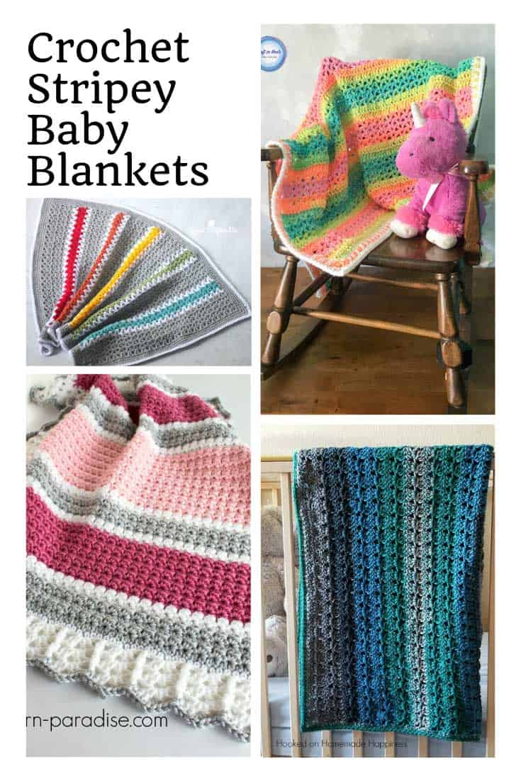 Did you see these crochet baby blanket patterns. They're all fun and stripey!