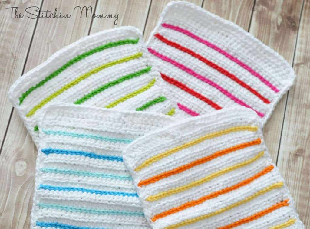 Crochet Striped Dishcloth