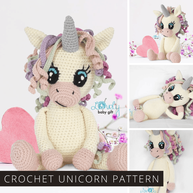 This crochet unicorn pattern is easy to follow and makes a wonderful toy