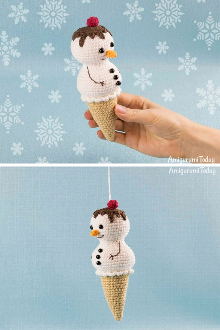 Crochet ice Cream Snowman Pattern