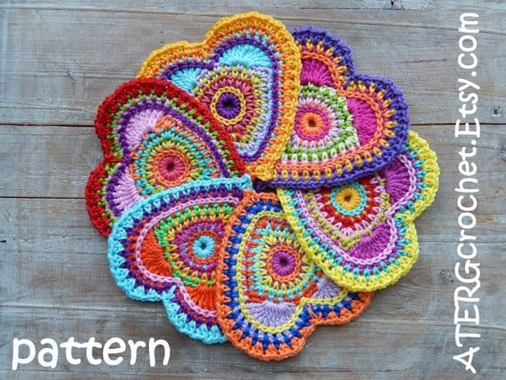 Colourful Crochet Heart Pattern