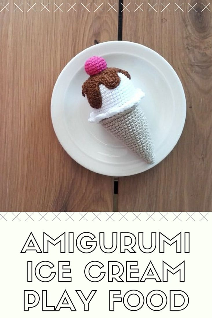 Crochet pattern - ice cream cone play food